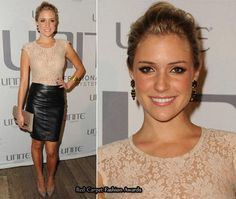 Leather pencil skirt and blush lace top - so elegant & edgy !!