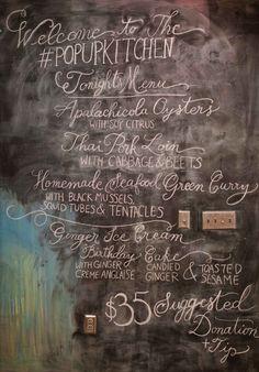 Day 23: Chalkboard lettering for a Birmingham pop-up restaurant (lettering by Kelly Cummings)