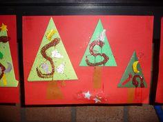 MAP: voor jongste kleuters; drie kerstbomen, gemaakt van vliegers, laten versieren