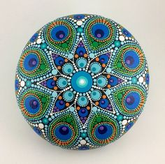 Painted Dot Mandalas Stones Wood Discs by KimberlyVallee on Etsy Dot Art Painting, Rock Painting Designs, Mandala Painting, Stone Painting, Mandala Painted Rocks, Mandala Rocks, Hand Painted Rocks, Stone Crafts, Rock Crafts