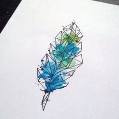Watercolor geometric feather tattoo