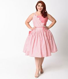 Holy Hamilton! This delectably divine pink and white striped plus size day dress is a vintage frock fresh from Unique Vintage in a fabulous colorblocked effect! Bursting with midcentury sensibility, the Hamilton plus size swing dress is cast in a soft, un