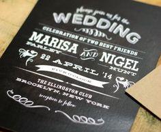 Vintage Chalkboard Wedding Invitation by deaandbean