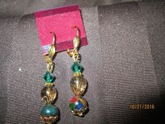 Extraordinary Emerald/ Ruby/Sapphire/Pyrite and Tourmaline Birthstone Earrings  E-188