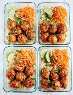 IIFYM Recipe- Honey Sriracha Glazed Meatballs Total Time- 30 minutes Who doesn't love meatballs? Today we bring you a new meal prep recipe that you MUST try. These honey Sriracha glazed meatballs are not only extremely easy to make, but. Healthy Snacks, Healthy Eating, Stay Healthy, Heathy Lunch Ideas, Healthy Meals For Dinner, Lunch Box Meals, Good Meals, Fit Meals, Easy Meals