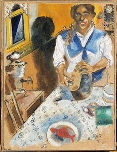Marc Chagall - Mania Cutting Bread, 1914