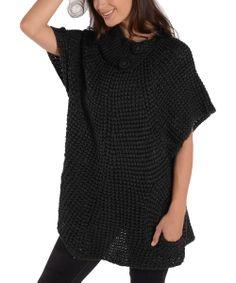 Black Asymmetrical Collar Sweater