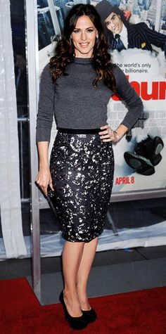 Look of the Day › April 6, 2011 WHAT SHE WORE Garner walked the Arthur red carpet in Casadei platforms, an Oscar de la Renta sweater and pencil skirt and $100,000 worth of Cartier jewelry.