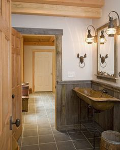 """Check out the antique dough bowl as a """"trough"""" sink in the bath.  Rustic and reclaimed inspiration for the vacation bathroom"""