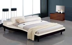 Modern Bed with Electrically Adjustable White Leather Headboard