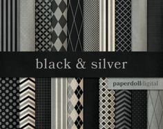 Black and Gray Digital Paper - Chevron Paper - Distressed Digital Paper - Quatrefoil Digital - Instant Download - 20 Sheets