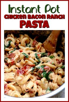 Used method 2 with low fat cream cheese and 8 slices bacon. Instant Pot Chicken Bacon Ranch Pasta–curly pasta is enveloped in a creamy sauce with tender bites of chicken, crispy bites of bacon and a green pop of color from spinach or broccoli. Best Pasta Recipes, Best Chicken Recipes, Cooking Recipes, Easy Recipes, Instant Pot Pressure Cooker, Pressure Cooker Recipes, Pressure Cooking, Chicken Bacon Ranch Pasta, Instant Pot Dinner Recipes