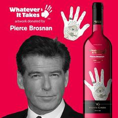 """Taste the """"Pierce Brosnan"""" Tempranillo red wine from our Charity Wine Collection on www.wineonlineforyou.com"""