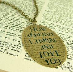 Pride and Prejudice - Mr Darcy Proposal Quote - Brass Necklace Brass Necklace, Dog Tag Necklace, Proposal Quotes, Pride And Prejudice Quotes, Jane Austen Books, Mr Darcy, Love You, My Love, Dumb And Dumber