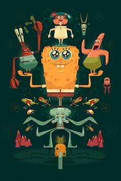 Jg Spongebob High Res By James Gilleard Canvas Print #JGD23