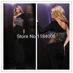 2014 New black one-shoulder cap long sleeve beading and crystal long Prom Dress DY-075