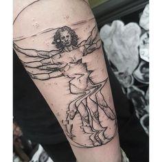 Glitch Virtuvian man tattoo by Max Amos. MaxAmos blackwork glitch pointillism…