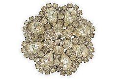 Vintage Rhinestone Flower Brooch
