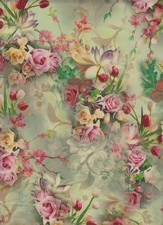 Raindrops and Roses Vintage Floral Fabric, Vintage Paper, Vintage Flowers, Vintage Prints, Print Wallpaper, Flower Wallpaper, Etiquette Vintage, Decoupage Printables, Raindrops And Roses