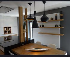 Page on Tagged: Home Interior Designing Post: Home Designing Style 2019 Latest Update and more at voiture Pendant Track Lighting, Decor Styles, Kitchen Design, Sweet Home, New Homes, Indoor, Shelves, House Design, Lights