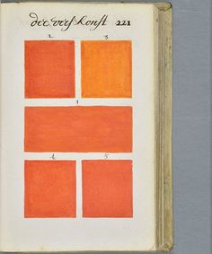 Pantone Color Book 17th Century - A Boogert | Before Pantone was the authority on color, a Dutch author A. Boogert created a handwritten book that documented watercolors. #refinery29 http://www.refinery29.com/original-pantone-color-book