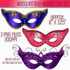 Masquerade Masks Clip Art Mask Clipart by CheriesArtsnCrafts, $1.95