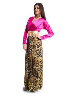 Feel comfort and yet elegant in this maxi dress by Xela! It features Fuchsia, brown and gold fabric formed into a v neckline with sheath silhouette detailed in leopard patterns and a gold sash-strap knotted on the waist for that stylish look that keeps you feeling glamorous. This makes a great buy for social events.