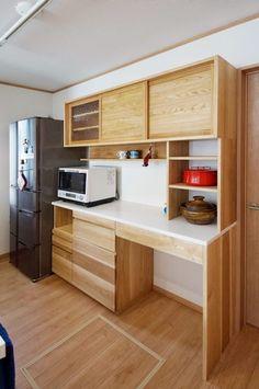 オーダー家具・カップボード食器棚 関東・神奈川・横浜 | oguma Small Space Design, Small Space Living, Small Spaces, Kitchen Island, Kitchen Cabinets, Interior, Room, House, Furniture