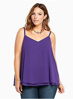 """<p>This deep purple cami is working double time with a sexy v-cut front and back. Cut with two floaty, semi-sheer, and swingy chiffon layers, this cami is a dressy upgrade from your everyday tanks.</p>  <p></p>  <p><b>Model is 5'9.5"""", size 1</b></p>  <ul> <li>Size 1 measures 29 1/2"""" from shoulder</li> <li>Polyester</li> <li>Wash cold, dry low</li> <li>Imported plus size cami</li> </ul>  <p></p>"""