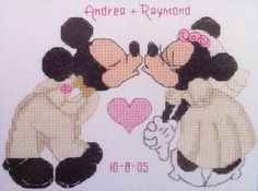 Disney Cross Stitch Mickey and Minnie Wedding Annoucement. $20.00, via Etsy.