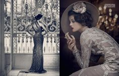Gatsby's party princesses inspire this season's eveningwear as this stunning Harrods Magazine shoot illustrates.    Left: Elie Saab gown.  Right: Temperley London gown, Phillip Treacy hat, Cartier necklace, Chanel ring.