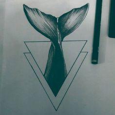 Whale  . . ✖ #blackwork #tattoodesigns #triangle #pencil #drawing #sketch #tattoo2me #blackworkbrasil #tattooinspiration