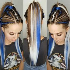 Image may contain: 2 people Baddie Hairstyles, Box Braids Hairstyles, Cool Hairstyles, Hair Color Blue, Cool Hair Color, Short Green Hair, Rave Hair, Festival Hair, Braids For Long Hair