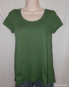Mouse over image to zoom  Have one to sell? Sell it yourself NEW Womens ANTHROPOLOGIE XS Sweater Back Tee GREEN Pocket Short Sleeve Tshirt