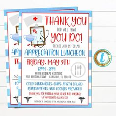 Nurse Appreciation Luncheon Dinner Event Invitation. Use this invite for any Hospital Nursing Staff Appreciation Event, picnic or cookout event. A great invite template for hospitals, medical companies, and more - all text is editable so make it read what you wish! ________________________________________________  FULL