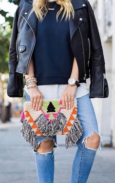 #pretty #winter #outfits /  Leather Jacket // Black Knit // Printed Clutch // Destroyed Skinny Jeans