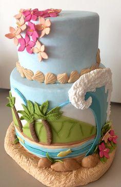Aluguel Bolo Moana / Praia Luau Birthday Cakes, Moana Theme Birthday, Surf Cake, Fondant Cake Designs, Naked Cakes, Beach Cakes, Moana Party, Summer Cakes, Cute Desserts