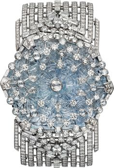 CARTIER. High Jewellery secret watch, quartz movement. Rhodium-finish 18K white gold case and bracelet set with an engraved sapphire of 51.55 cts, 12 pear-cut diamonds, 94 baguette-cut diamonds totalling 5.54 cts, 41 rose-cut diamonds and 844 brilliant-cut diamonds totalling 12.84 cts, silvered translucent lacquered sunray effect dial, square-shaped diamond marker at 12 o'clock, rhodium-finish 18K white gold sword-shaped hands. Water-resistant to 3 bar (approx. 30 meters). Unique piece.