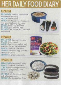 Kourtney Kardashian's food diary in OK Magazine.