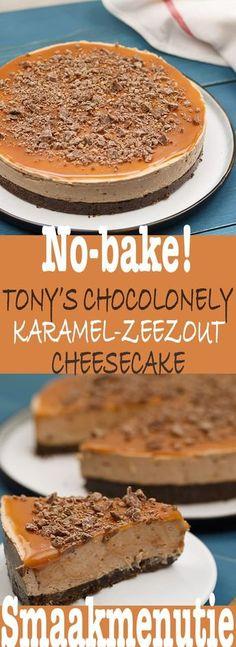 No-bake! Tony's chocolonely karamel-zeezout cheesecake No-bake! Tony's chocolonely karamel-zeezout cheesecake Cupcake Recipes, Baking Recipes, Cupcake Cakes, Baking Cupcakes, Cake Fondant, Baking Ideas, Fat Foods, Food Cakes, Queso
