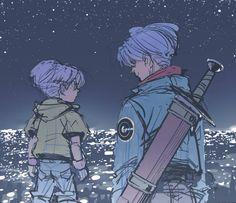Future Trunks talking to kid Trunks bluish purple fine