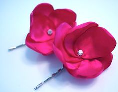Simple Satin Flower hair accessory, would be easy to DIY