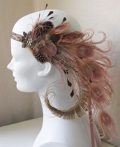 Dusty Rose Nymph Peacock Feather Flapper by BaroqueAndRoll on Etsy