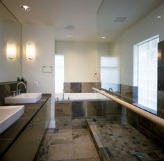 contemporary bathroom by Jeff Luth - Soldano Luth Architects. Maple rail.