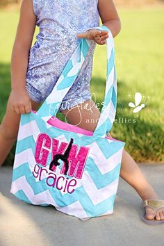 Girls Gymnastics Bag - Girls Tumbling Gym Bag - Personalized This listing is for the Gymnastics bag. Cheer & Ballet bags available in separate listings. Our trendy tote bags are perfect for trips to the beach, dance class, gymnastics, cheer practice, overnight trips, school & much more!! P...