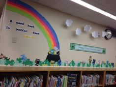 Saint Patrick's Day Library Display. Post-it note rainbow and 3D clouds.