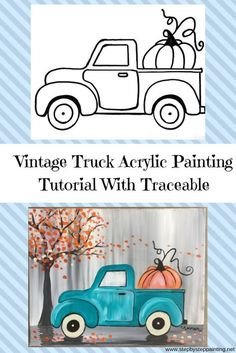 How To Paint A Vintage Pumpkin Truck Step By Step Painting - How To Paint A Vintage Pumpkin Truck Learn How To Paint This Absolutely Adorable Teal Vintage Truck With A Pumpkin In The Back Beginners Can Learn How To Do This With Acrylic Paints On An Autumn Painting, Autumn Art, Fall Paintings, Vintage Paintings, Christmas Canvas Paintings, Country Paintings, Acrylic Paintings, Truck Paint, Fete Halloween