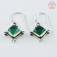 2.6 gm Pretty Green Onyx Stone 925 Sterling Silver Earrings  #SilvexImagesIndiaPvtLtd #DropDangle
