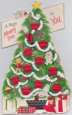 Vintage Hallmark Christmas Card  Money Tree  UNUSED by OldCards