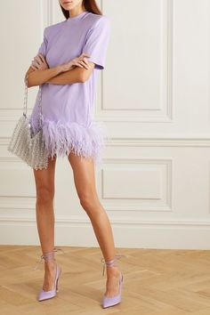 The Attico Feather-Trimmed Cotton-Jersey Mini Dress Dress Outfits, Casual Dresses, Short Dresses, Fashion Dresses, Dress Up, Prom Dresses, Mini Dresses, Ball Dresses, Fancy Dress
